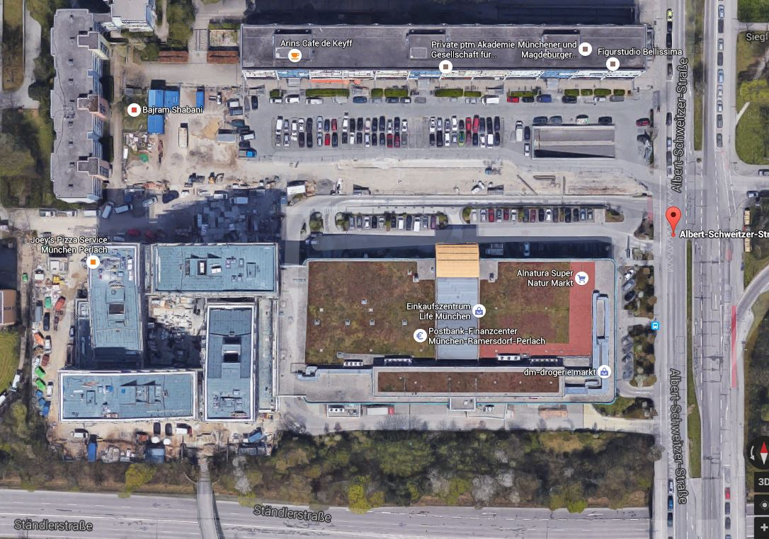 Anfahrt Fahrschule 1plus, München Neuperlach, Google Earth Karte
