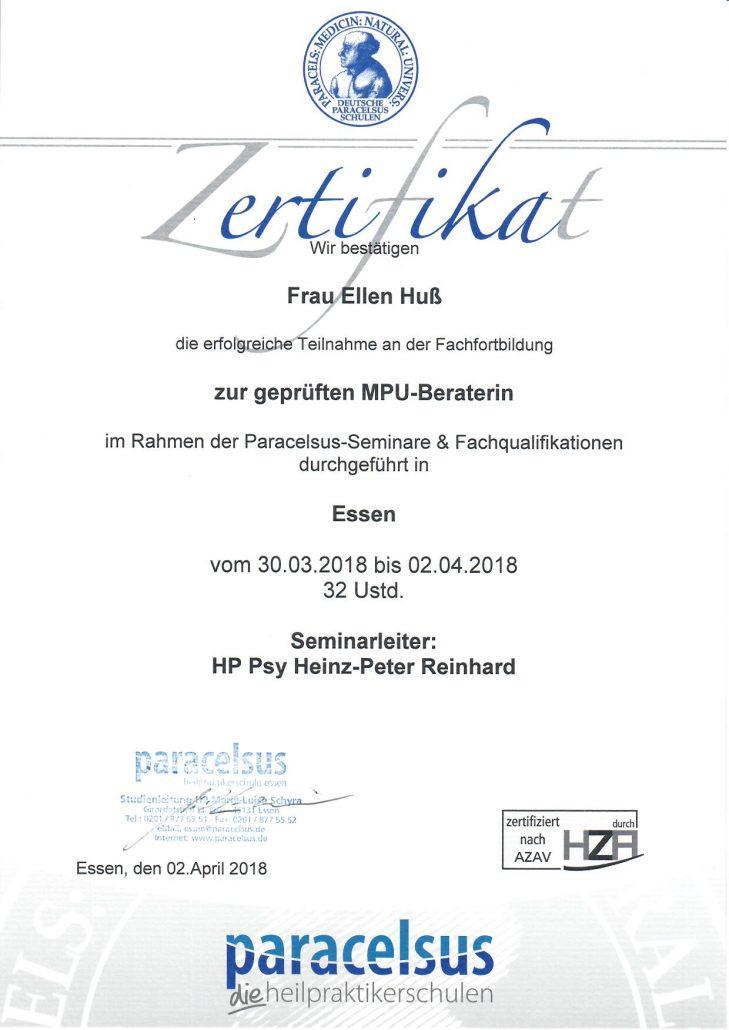 Vorbereitung auf die MPU - Zertifikat Fahrschule1plus